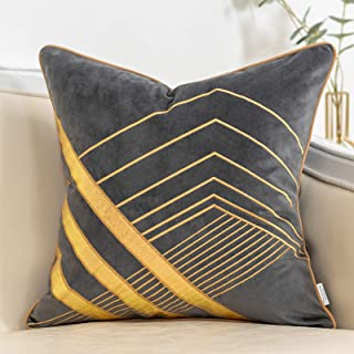 Yangest Grey and Gold Geometric Velvet Throw Pillow Cover Striped Leather Cushion Case Modern Luxury Textured Pillowcase f...