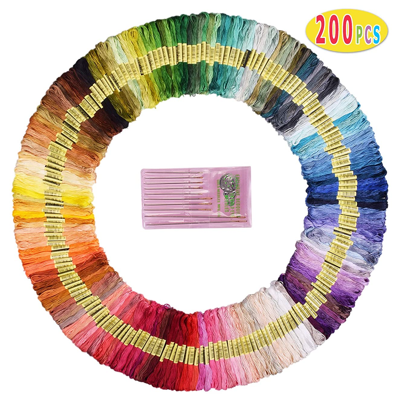 Max Fun Embroidery Floss 200 Skeins Friendship Bracelets Floss Rainbow Color Embroidery Thread Cross Stitch Floss (200 Skeins)