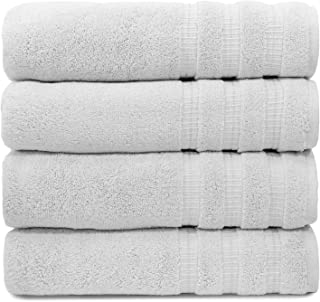 Turquoise Textile, 100% Soft Turkish Cotton Luxury and Eco-Friendly Bath Towel Set for Home, Hotel & Spa, Made in Turkey (Set of 4) (White)