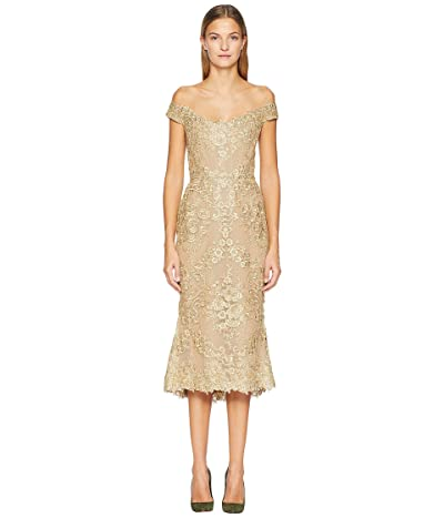 Marchesa Corded Lace Off Shoulder Cocktail Dress with 3D Sequin Roses (Gold) Women