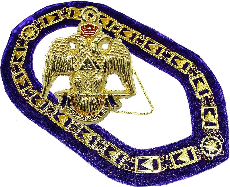 33 Degree Masonic Collar Regalia 33RD Degree Scottish RITE Plus Small Pendant