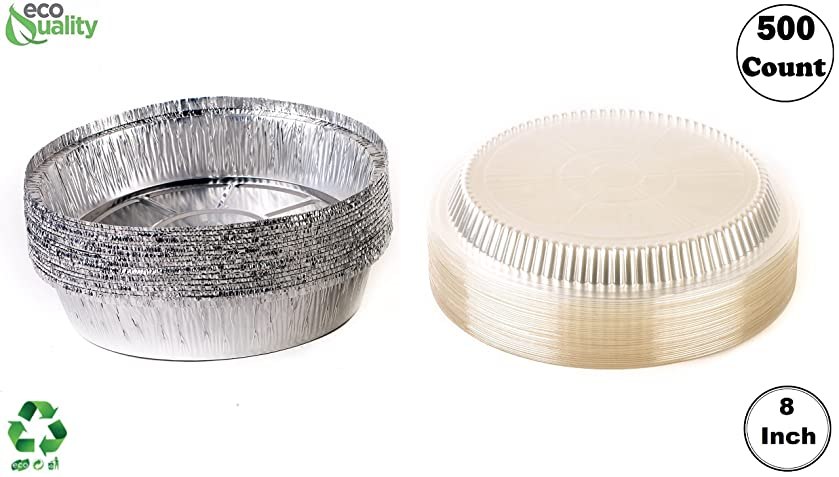 (500 Pack) - 8 Inch Disposable Round Aluminum Foil Take-Out Pans with Plastic Lids Set - Disposable Tin Containers, Perfect for Baking, Cooking, Catering, Parties, Restaurants by EcoQuality