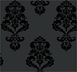 York Wallcoverings Tres Chic Graphic Damask Removable Wallpaper, Blacks