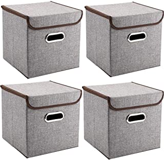 Storage Bins Pack of 4 Mee'life Storage Linen Fabric Foldable Basket Cubes Organizer Boxes Containers Drawers with Lid & H...