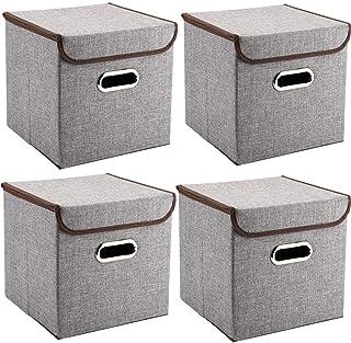 MEE'LIFE Poignées Boîtes de Rangement 4-Pack Tissus de Lin Caisses de Panier Pliable Organisateur Boîtes Conteneurs Tiroir...