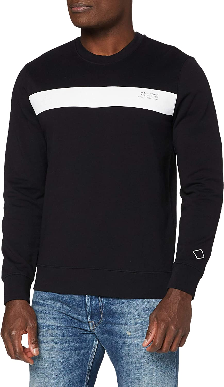 Replay Max 76% Fees free!! OFF Men's Graphic Black Sweatshirt