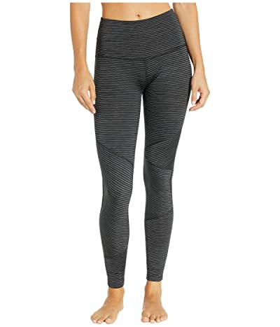 Beyond Yoga Out Of Line High-Waisted Long Leggings (Black Heather Surf Stripe) Women