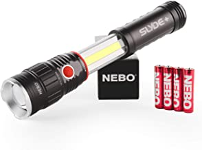 300 Lumen LED Flashlight Work-Light: Chip on Board (COB) Technology; Red Light Mode and Red Flashing Light Mode; 4x Adjustable Zoom with Magnetic Base; Powered by 4x AAA batteries (included) - NEBO 6525