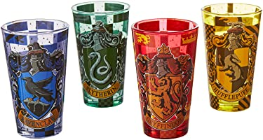 Silver Buffalo HP031P2 Harry Potter Movie 1-8 House Crests with Checkers Pint Glass Set, 4-Pack