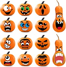 Whaline 64Pcs Halloween Pumpkin Stickers, 14 Funny and Classic Pumpkin Expressions Stickers for Pumpkins and Squashes, Make Your Own Jack-O-Lantern Face Decals for Halloween Party Decoration