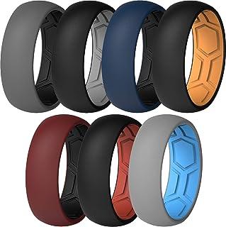 ThunderFit Men Breathable Air Grooves Silicone Wedding Ring Bands - 7 حلقه / 4 حلقه / 1 حلقه - 8 میلی متر عرض 2 میلی متر ضخامت