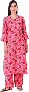 MEVE Readymade 2 Piece Matching Pure Printed Cotton Pink Kurta and Palazzo Set for Women