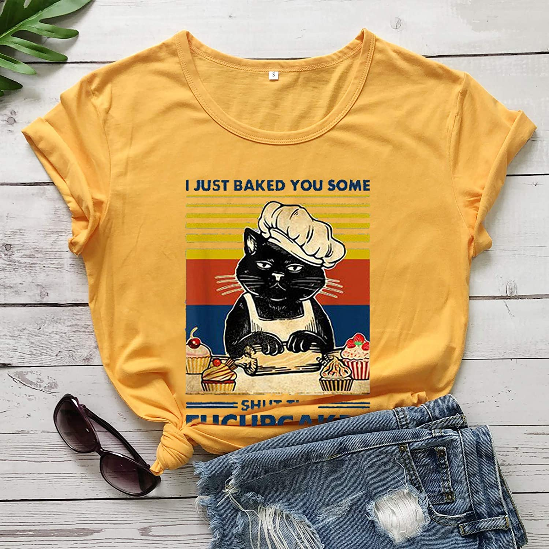 Women T Shirt,Women's Classic-Fit Short-Sleeve Crewneck Cat Graphic Summer T-Shirt Tops Shirts