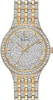 Bulova Crystal Quartz Mens Watch, Stainless Steel, Gold-Tone (Model: 98A229)