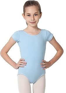 CAOMP Girl's Gymnastics Leotards, Short Sleeve Organic Cotton Spandex, Dance