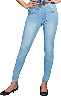ADBUCKS Womens Silm Fit Dark Wash Denim Jeggings with Elasticated Waistband (Multi Color & Plus Size Also Available)