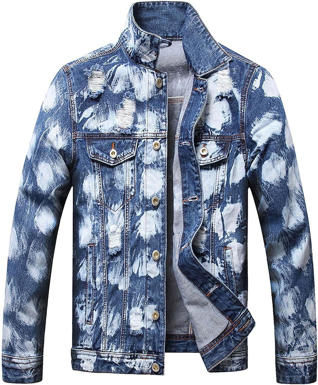Beshion Lightweight Blue Jacekt for Men Tie Tye Long Sleeve Ripped Denim Jacket Distressed Slim Fit Trucker Coat with Pocket