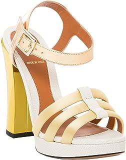 FENDI Women's Chameleon Platform Sandal Heels Gold Tan Satin Leather