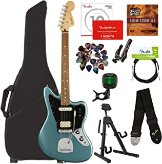 Fender Player Jaguar, Pau Ferro - Tidepool Bundle with Gig Bag, Stand, Cable, Tuner, Strap, Strings, Picks, Capo, Fender Play Online Lessons, and Austin Bazaar Instructional DVD