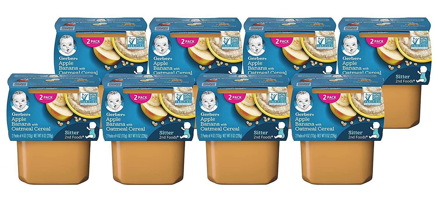 Gerber 2nd Foods Apple Max 86% Las Vegas Mall OFF Banana with 8 Pack Oatmeal Cereal of