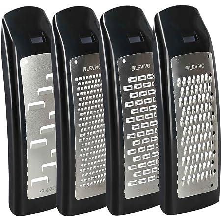 Levivo Set d'agrandissement pour râpe à fromage, 4pièces en acier inoxydable, set d'accessoires pour râpe à fromage, coupe-fromage, noir 7,5x5,5x16,5cm
