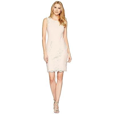 Calvin Klein Lazer Sheath Scuba Dress (Blush) Women