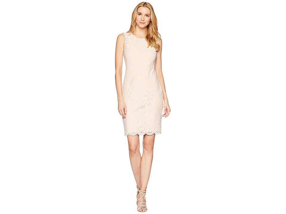 Calvin Klein Lazer Sheath Scuba Dress (Blush) Women