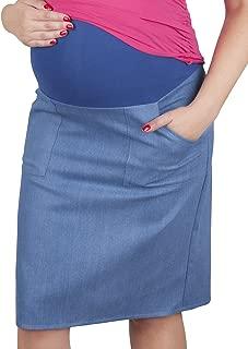 Mija – Maternity pregnancy Denim skirt with soft jersey panel 3047 (US 14, Light Blue Denim)