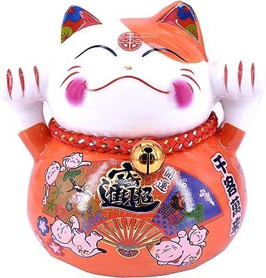 "4"" White Ceramic Maneki Neko Lucky Cat Coin Bank Style (Orange)"