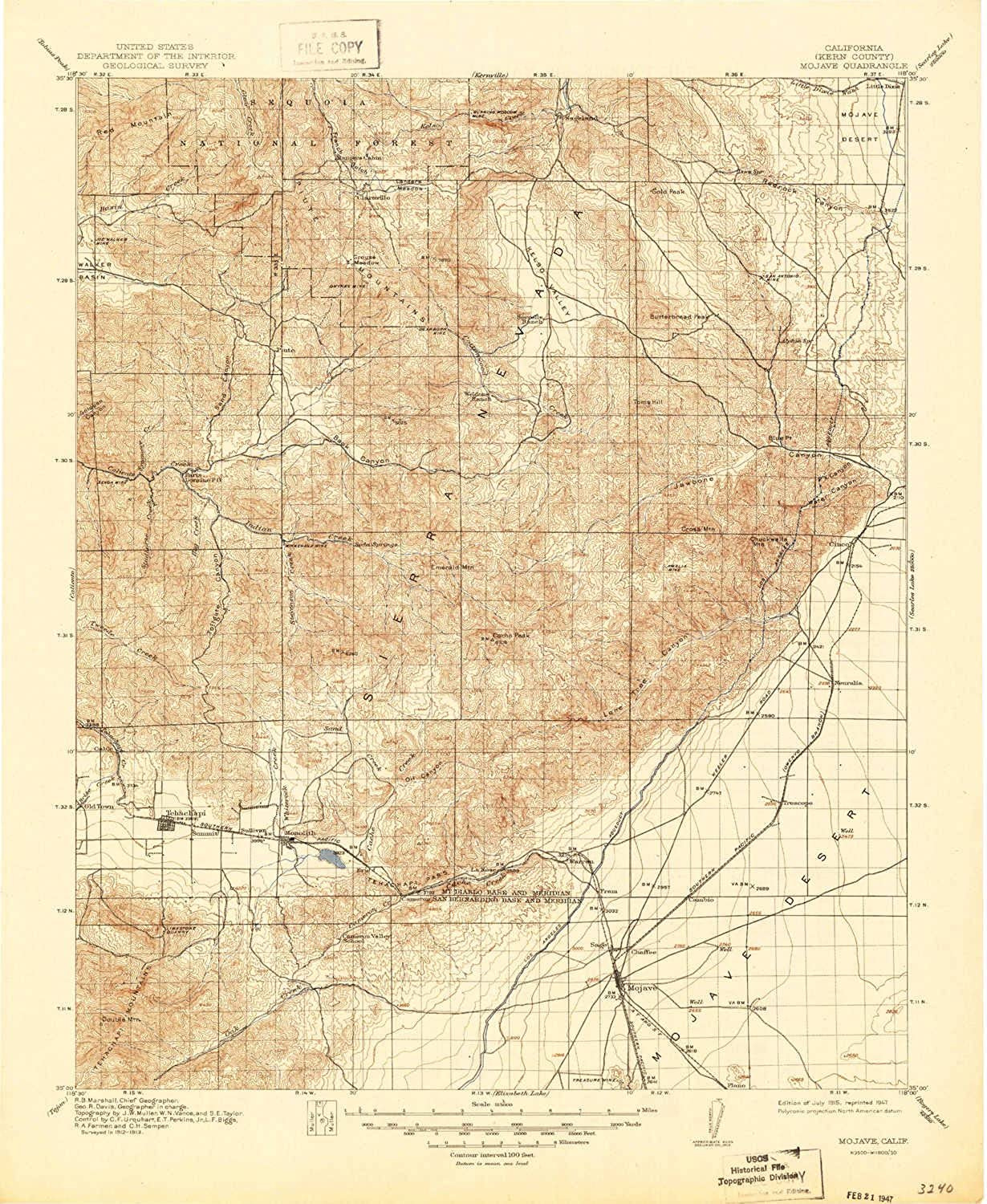 Mojave CA topo map, 1 125000 Scale, 30 X 30 Minute, Historical, 1915, Updated 1947, 20.8 x 17.1 in