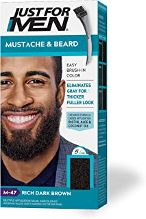 Just For Men Mustache & Beard, Beard Coloring for Gray Hair with Brush Included - Color: Rich Dark Brown, M-47