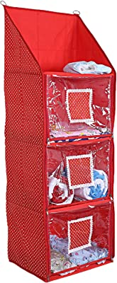 Kuber Industries Cotton Four Cabinet Hanging Baby Almirah (Red)-CTKTC25368