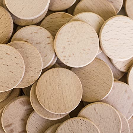 """Round Unfinished 1.5"""" Wood Cutout Circles Chips for Arts & Crafts Projects, Board Game Pieces, Ornaments (100 Pieces)"""