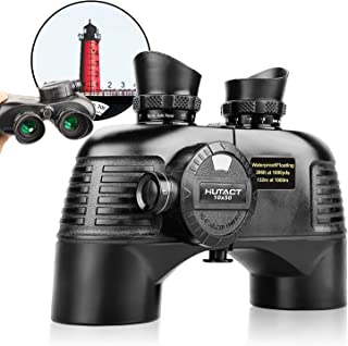 HUTACT 10x50 Binoculars for Adults with Rangefinder and Compass, Compact Binoculars for Birdwatching, Marine, Hunting