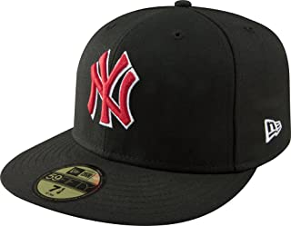 MLB New York Yankees Black with Scarlet and White 59FIFTY Fitted Cap, 7 1/8