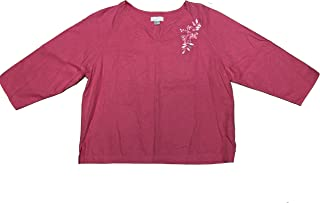 Christopher and Banks Women's Pullover Tunic Floral Embroidery w/Beads Medium Pink