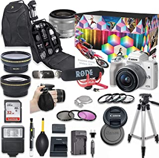 Canon EOS M50 Mirrorless Digital Camera with 15-45mm Lens Video Kit (White) + Wide Angle Lens + 2X Telephoto Lens + Flash + SanDisk 32GB SD Memory Card + Accessory Bundle