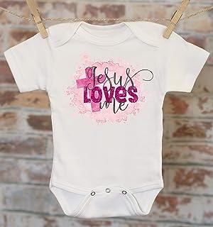 c940e71e6 Jesus Loves Me Onesie, Christian Baby Clothes, Baptism Gift, Christening  Gift, Christian