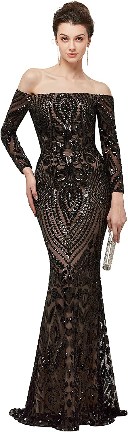 CuteShe Women's Black Sequins Evening Dresses Mermaid Long Prom Formal Gowns Off Shouder with Sleeves