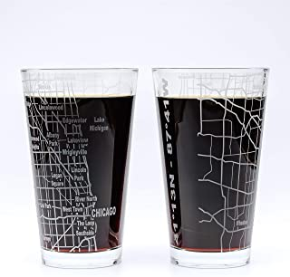 Greenline Goods Beer Glasses - 16 oz Drinkware Set for Chicago lovers | Set of 2 | Etched with Chicago, IL Map | Premium Decorative Glassware