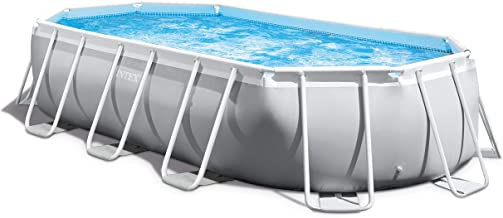 Intex 16.5ft X 9ft X 48in Oval Prism Frame Pool Set, Light Grey