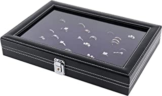 JackCubeDesign Jewelry Ring Display Organizer Storage Box Case Tray Holder with 100 Slot Ring Display and Glass Cover(Black, Inside Purple Velvet, 13.3 x 9.3 x 2.1 inches)- :MK376B