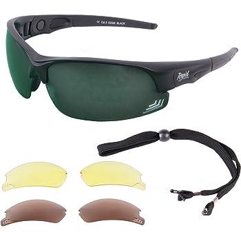 Black Polarized Sunglasses with Blue Mirror lens Anti-Glare Fishing Golfing