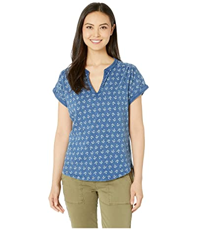Lucky Brand Printed Notch Neck Top (Blue Multi) Women