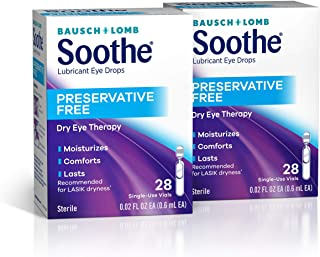 Bausch + Lomb Soothe Preservative-Free Lubricant Eye Drops, Single Use Dispensers, (Each 28 Count of 0.02 Fl Oz Viols) 0.5...