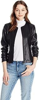 A|X Armani Exchange Women's Zip Detail Crew Neck Eco-Leather Jacket