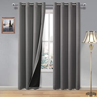 DWCN 100% Blackout Curtains – Thermal Insulated, Energy Saving & Noise Reducing Grommet Curtains for Living Room, Bedroom and Kids Room, Grey, W 52 x L 84 Inch, Set of 2 Lined Curtain Panels
