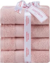 Textilom 100% Turkish Cotton 4 Piece Luxury Hand Towel Set for Bathroom & Kitchen, Hotel & Spa Quality & Super Soft & Fluf...