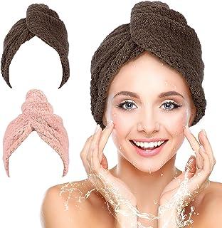 Tavaleu Toalla de pelo de microfibra, 2 paquetes de toallas de pelo para mujeres, turbante de cabello de secado rápido, toallas de pelo anti encrespamiento para cabello rizado largo y grueso, súper absorbente (rosa y marrón)