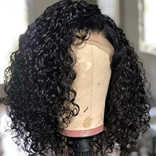 MSGEM Brazilian Curly Hair Bob Lace Front Wigs for Black Women Human hair,10 inch Unprocessed 100% Black Bob Lace Front Wig Short Curly Hair Lace Front Wigs Human Hair